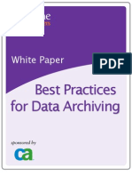Best Practices for Data Archiving Sponsored by CA