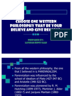 Choose One Western Philosophy That Be Your Believe- Latifah