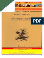 Libro No. 302. Pensamiento y Poesía en la vida Española. Zambrano, María. Colección Emancipación Obrera. Febrero 4 de 2012