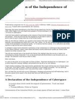 Declaration of In Dependance of Cyberspace
