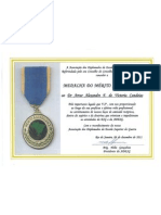 Diploma Medalha Merito Adesguiano atribuida a Artur Victoria