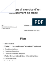 Conditions d'exercice d'un eětablissement de creědit