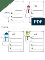 Snowman ABC Order Recording Sheet