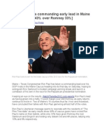 Ron Paul Takes Commanding Early Lead in Maine Caucus [Paul 43% Over Romney 33%]