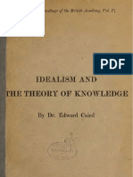 Edward Caird IDEALISM AND THE THEORY OF KNOWLEDGE London 1903