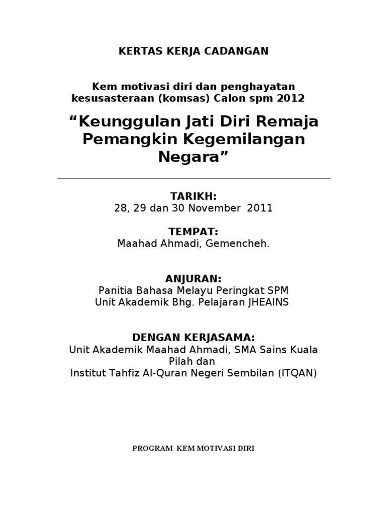 Program Kem Motivasi Diri Komsas 2011 Versi Jheains