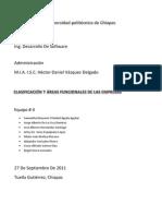 Clasificacion y Areas Funcionales de Una Empresa