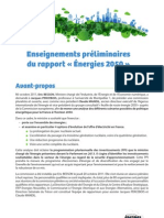 Enseignements préliminaires du rapport Energies 2050