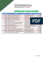 TOP TEN WMSUCET QUALIFIERS (SY 2012-2013)