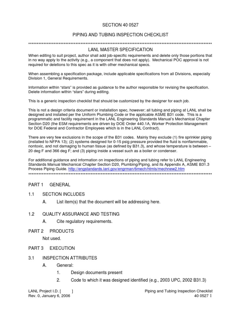 Pipe Tubing Inspection Checklist | Leak | Pipe (Fluid