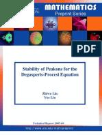 Zhiwu Lin and Yue Liu- Stability of peakons for the Degasperis-Procesi equation