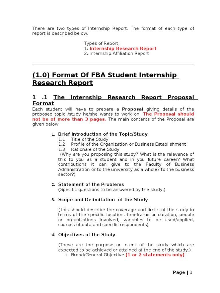 Internship Report Format Spring 2012 | Internship | Master Of