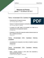 Resumen prensa CEU-UCH 11-02-2012