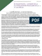 le rejet de la dialectique dans la philosophie française de la seconde moitié du 20e siècle