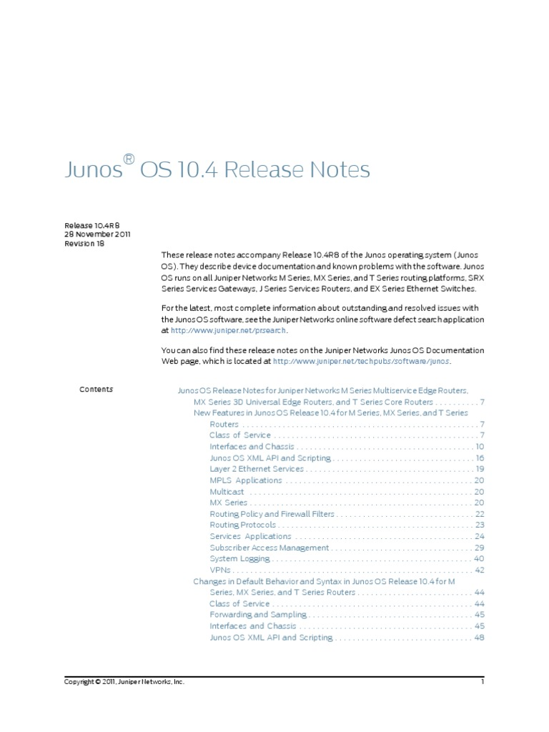 Junos Release Notes 10 | Network Switch | Router (Computing)