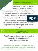 Relacoes Entre Bem Estar Subjectivo e Adesao a Terapeutica Em Seis Doencas Cronicas