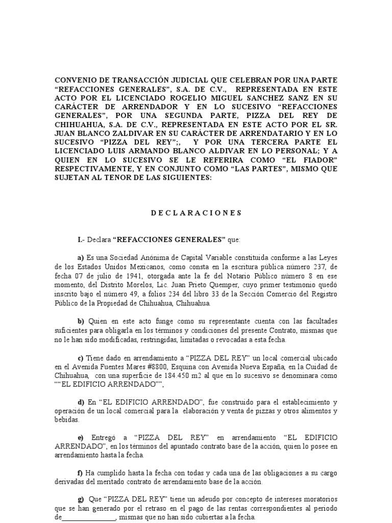 Convenio judicial arrendamiento borrador for Arrendamiento de bienes muebles ejemplos