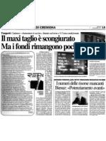 """Il maxitaglio è scongiurato ma i fondi rimangono pochi (""""La Provincia"""", 06-12-2011, p. 15)"""