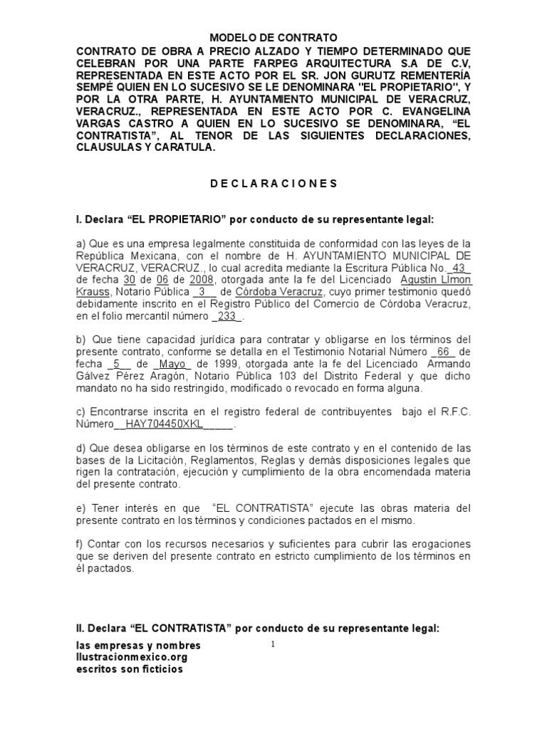 Contrato De Obra Labour Law