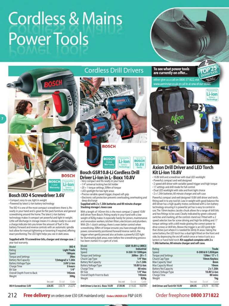 Axminster 07 Cordless Mains Power Tools P212 P298 Drill Bosch Gos 108 V Li Tool Only Kamera Borescope Battery Charger