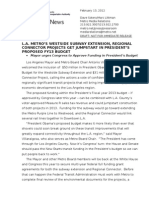 Metro Projects in President's FY13 Budget