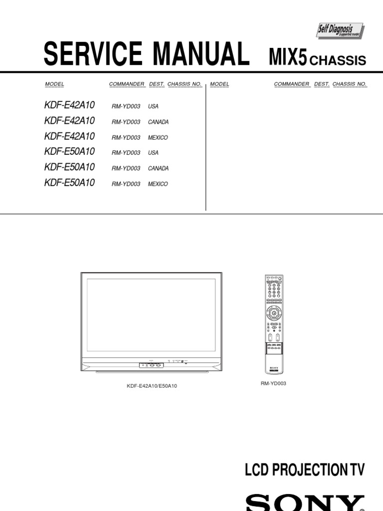 sony kdf e50a10 manufactured goods electronic engineering rh scribd com kdf-e50a10 service manual pdf KDF-E50A10 Service Manual