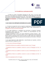Edital transferência 2012-1 - Ciências da Religião