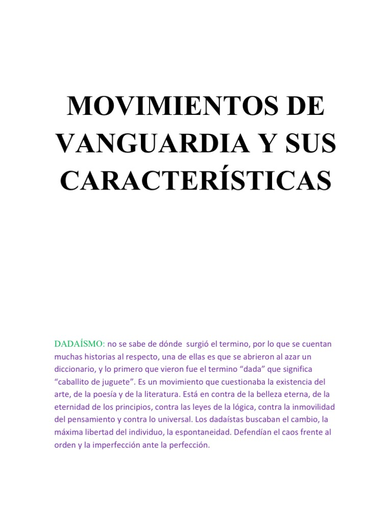 Movimientos de vanguardia y sus caracter sticas for Tipos de vanguardias