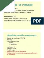Introduction BASES DE L' ECOLOGIE 2010-2012GT