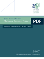 National Business Ethics Survey an Inside View of Private Sector Ethics 2007