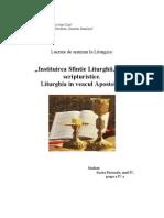 Instituirea Sfintei Liturghii Texte Scripturistice - Liturghia in Veacul Apostolic