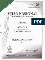 UN TP 2010/2011 Bahasa Indonesia Paket 25