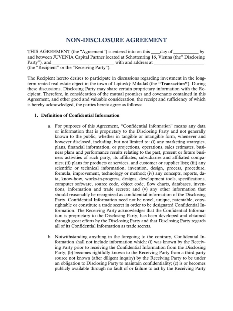 Non Disclosure Agreement Confidentiality Discovery Law