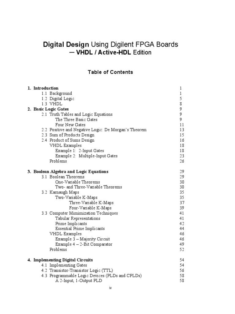 TOC From Digital Design Using Digilent FPGA Boards-VHDL