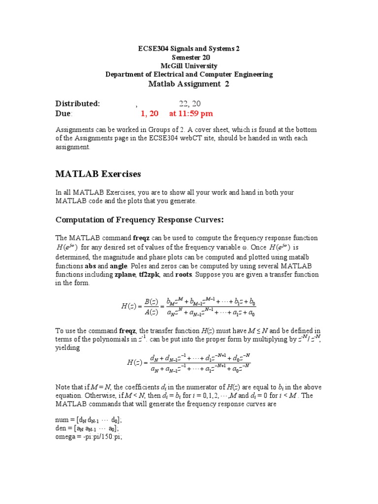 Assignment 2 Matlab RegProbs | Telecommunications Engineering | Algebra