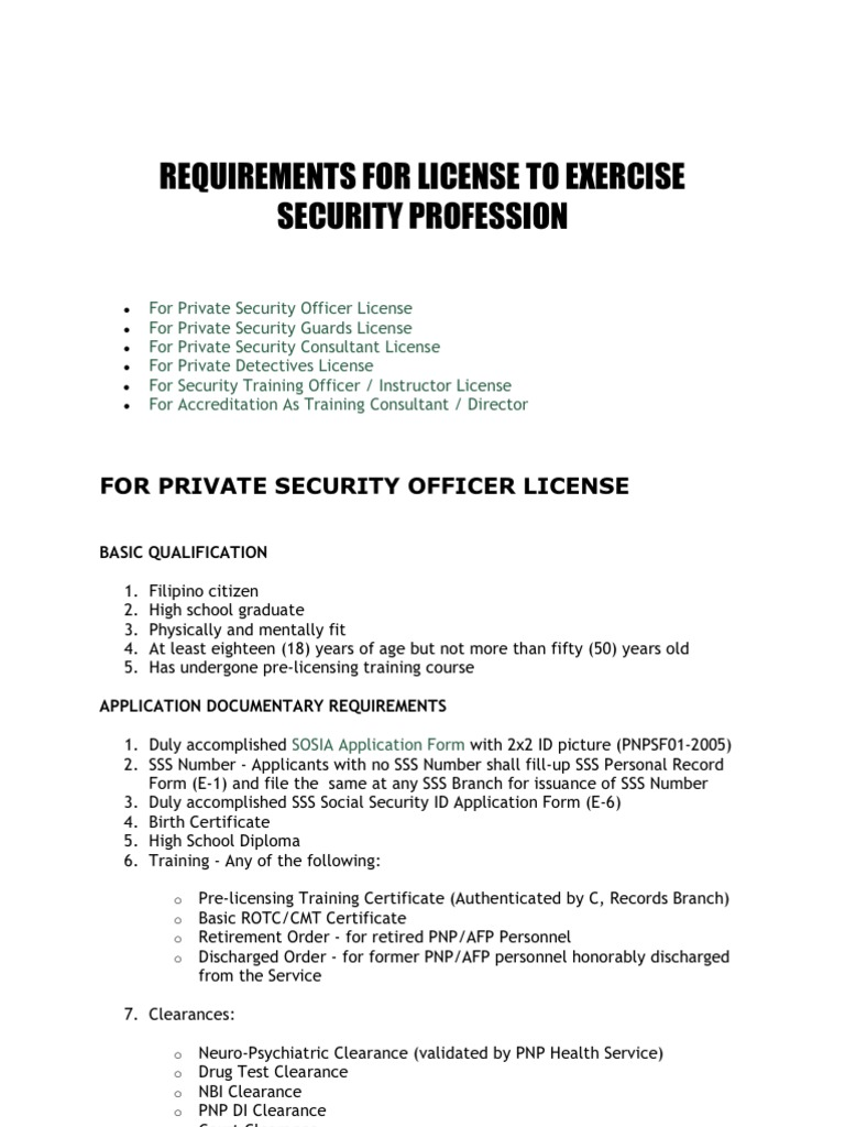 Requirements for license to exercise security profession yadclub Images