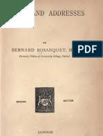 Bernard Bosanquet ESSAYS AND ADDRESSES London 1891
