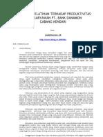 Pengaruh Pelatihan Terhadap Produktivitas Kerja
