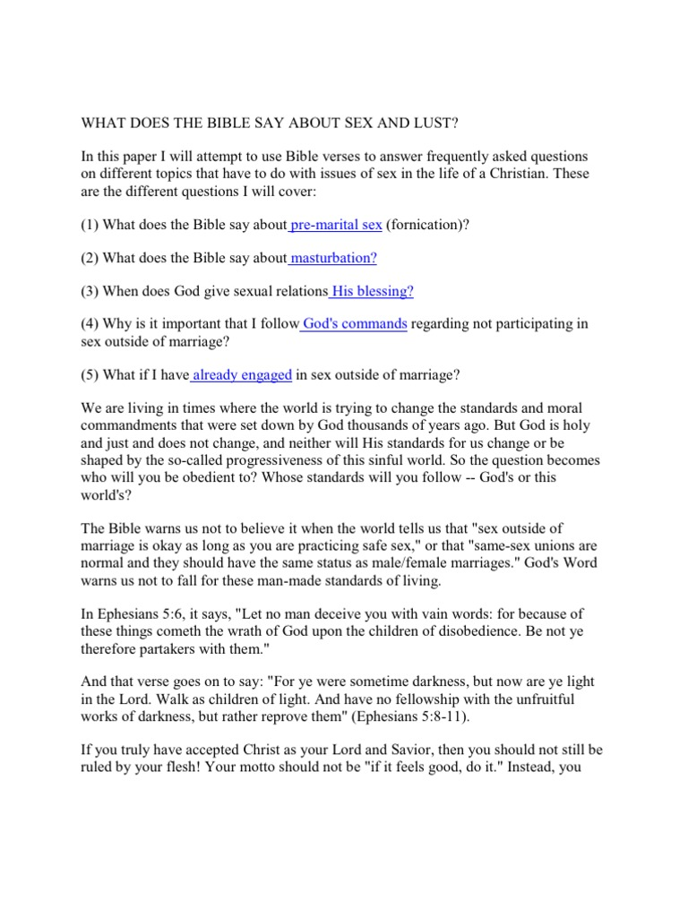 Bible sys about masturbation