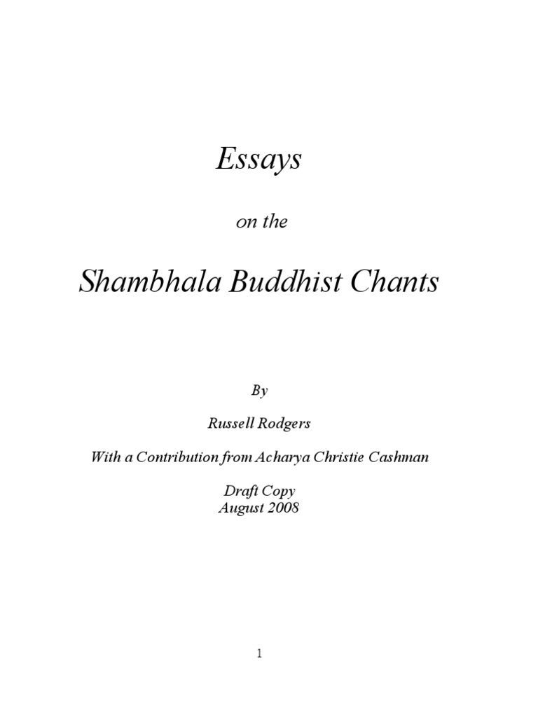essays on shambhala buddhist chants