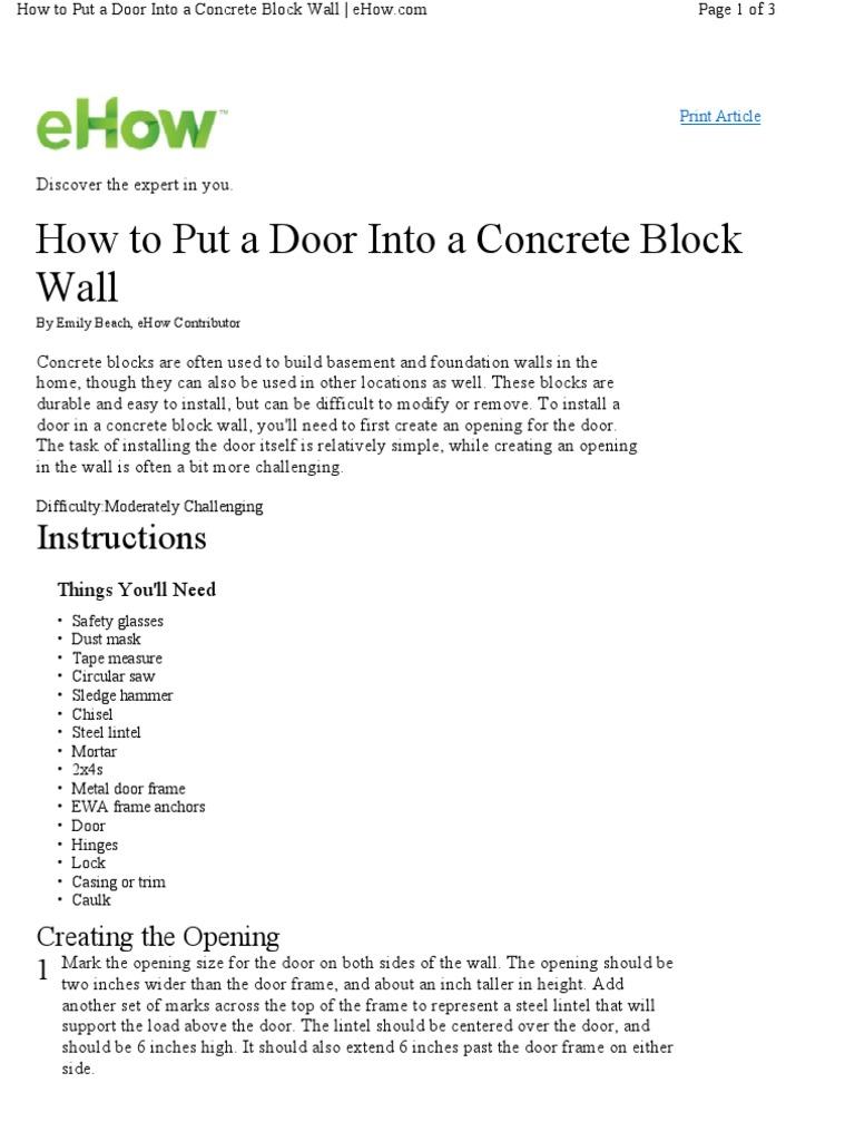 Ehow how to discover the expert in you - How 5632763 Put Door Concrete Block Wall Framing Construction Door
