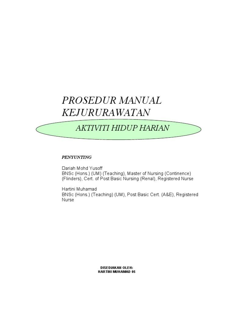 proseduraktivitihidupharian rh ru scribd com Gambar Prosedur manual prosedur kerja kejururawatan