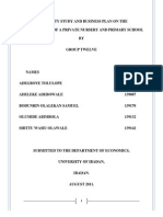 Feasibility Report & Business Plan on d Establish of a Nusery and Primary School in Ibadan, Oyo State