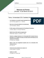 Resumen prensa CEU-UCH 15-02-2012
