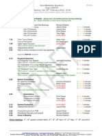 Programme for next meeting of East Midlands Speakers Programme, 122, 20th February 2012