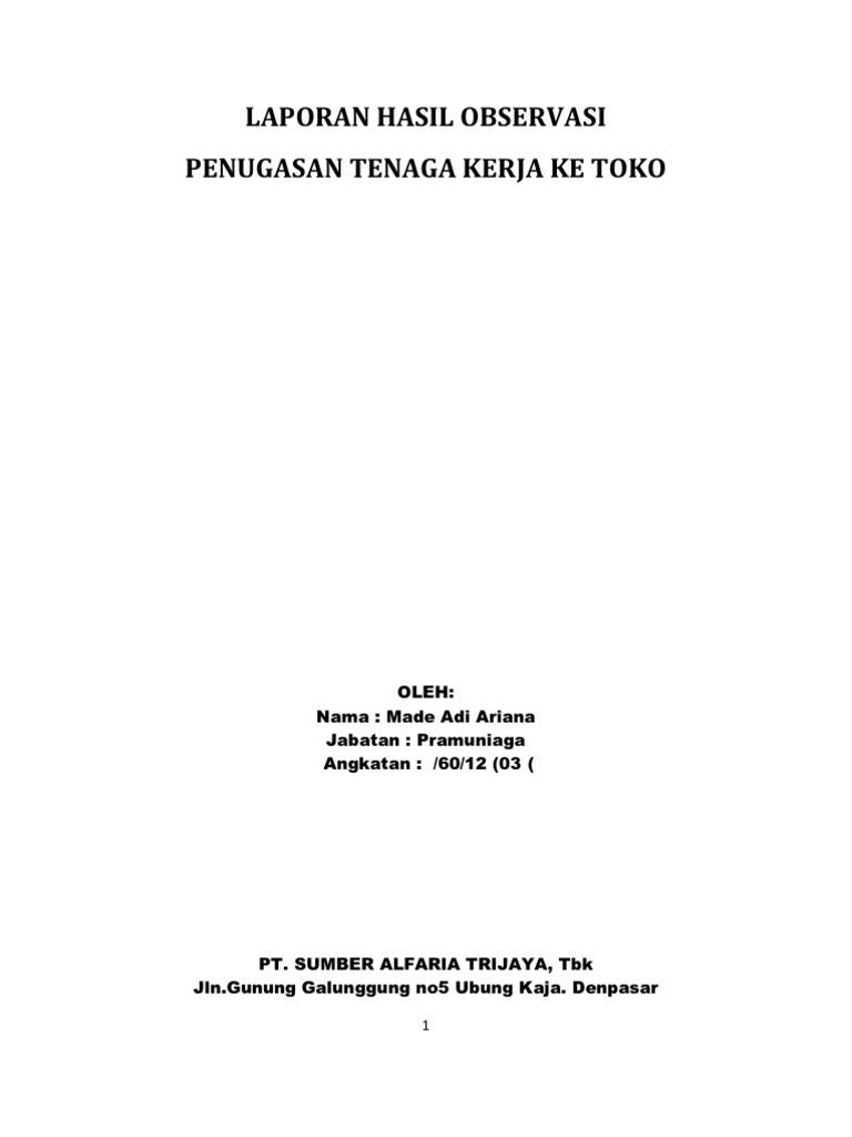 Contoh Makalah Observasi Toko Alfamart