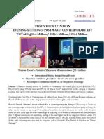 Christie's London  Evening Auction Of Post-War & Contemporary Art  Totals £80.6 Million / $126.5 Million / €96.1 Million