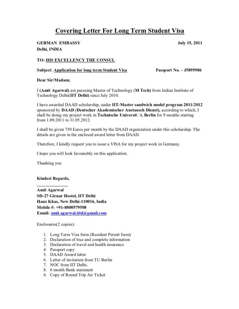 Visa sample cover letter stopboris Gallery