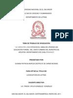 La variación lingüística en el habla de jóvenes sin educación formal del casco urbano del municipio de Arcatao, Departamento de Chalatenango - Susana Patricia Murcia