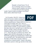 Saturn Means Shanidev is Dand Nayak